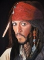 Portrait of Johnny Depp as Captain Jack Sparrow, from Pirates of the Caribbean.