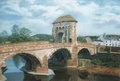 The old Monnow Bridge, in Monmouth, South Wales.